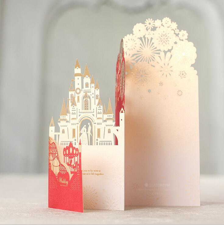 Wishmade Red Laser Cut 3D Castle Wedding Invitations With Bride and Groom Wedding Cards, Customizable100pcs/lot CW5073