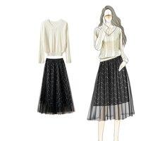 two piece Cardigan long skirt set V neck Hollow Cardigan Pleated skirt sweater women