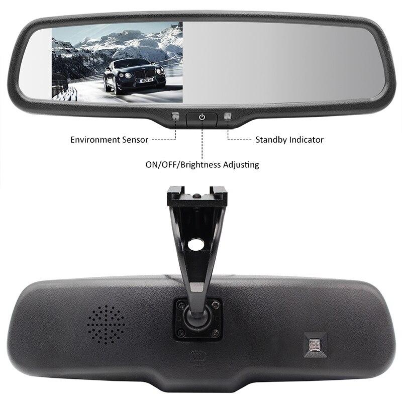4.3 pouces TFT LCD voiture support spécial rétroviseur moniteur pour système d'assistance au stationnement avec 2 entrées de lecteur vidéo RCA - 3