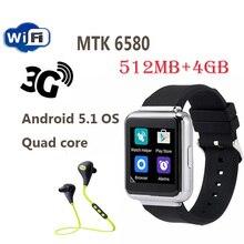 """2016 Más Reciente MTK6580 Quad A core Inteligente Reloj Q1 Android 5.1 OS 1.54 """"Soporte de pantalla WiFi GPS 3G Tarjeta Sim Google Play SmartWatch"""