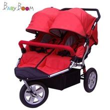 Babyboom внедорожная детская коляска для близнецов с пневматическими колесами, двойная детская коляска