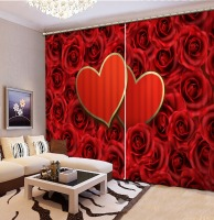 Red Rose 2 Hearts Wedding Curtains For Bedroom Living Room Curtains Drapes Thermal Insulated Blackout Window Curtains