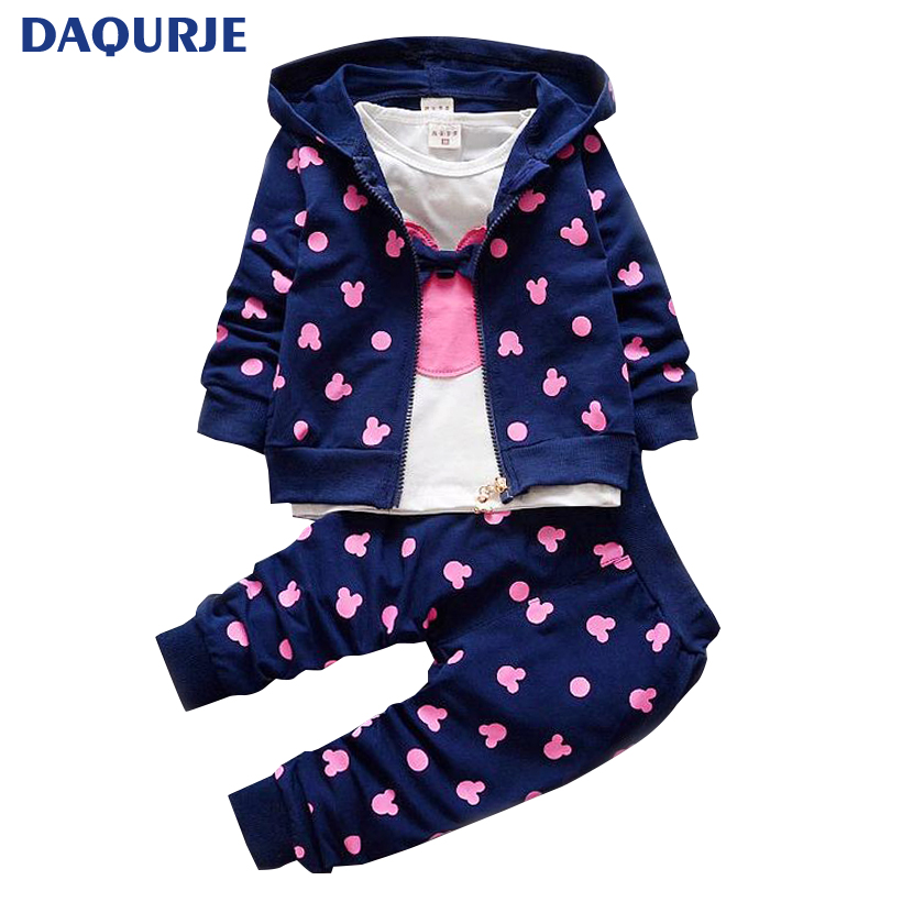 Fashion Kids Baby Boys / Girls Clothes Casual Cartoon Minnie Children Clothing T-shirt+Jacket+Pants 3PCS Clothing Sets For 1-4Y hot sale 2016 kids boys girls summer tops baby t shirts fashion leaf print sleeveless kniting tee baby clothes children t shirt