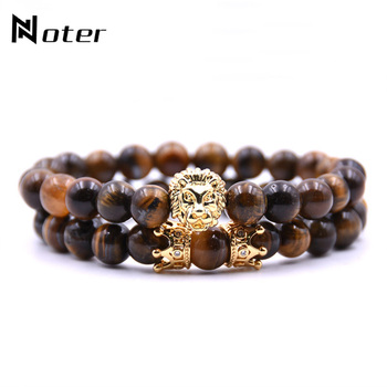 2pcs/set King Lion Bracelet Charm Crown Couple Braclet 5 kinds of Natural Stone Bead Braslet For Men Hand Jewelry Accessories