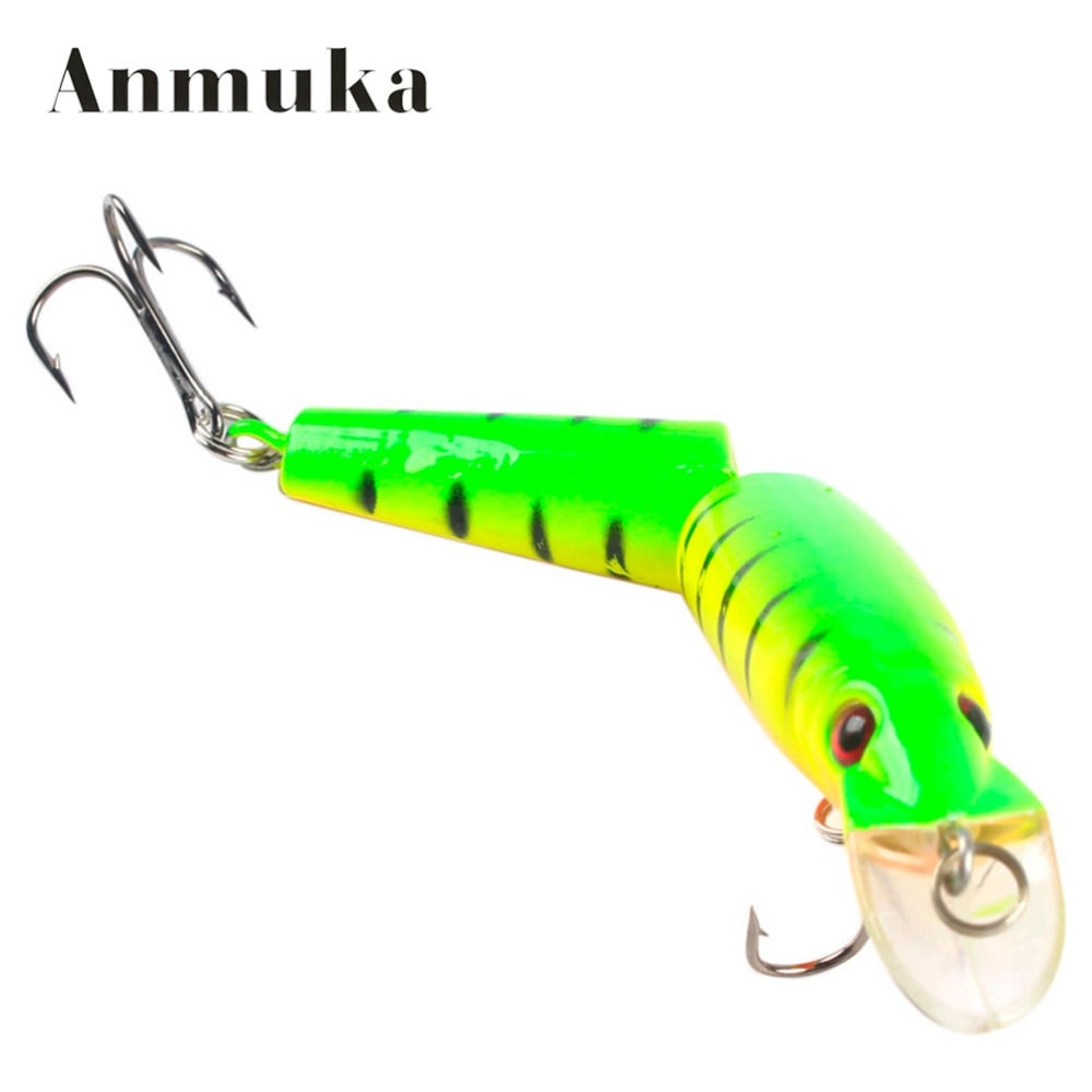 Anmuka 3D Eyes Lifelike Fishing Lure Treble Hooks 2 Jointed Sections Swimbait Hard Bait Isca Artificial Lures Fishing Tackle dw25 b multie jointed fishing lifelike lure bait 80mm 10g fishing lure with 2 vmc hooks