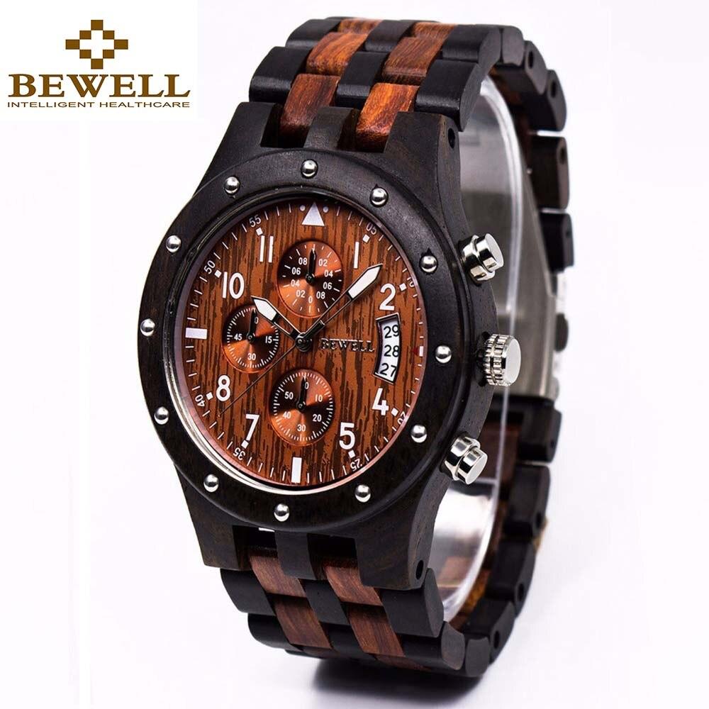 Bewell madera reloj de los hombres de la marca de lujo de cuarzo reloj de pulsera con calendario completo dropship proveedor 109d