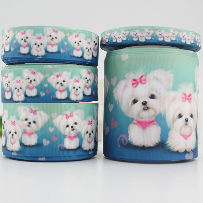 lovely dog ribbon grosgrain Packing Tape Handmade Jewelry DIY Hair Bow Sewing Accessories9mm 16mm 22mm 25mm 38mm 57mm 75mm