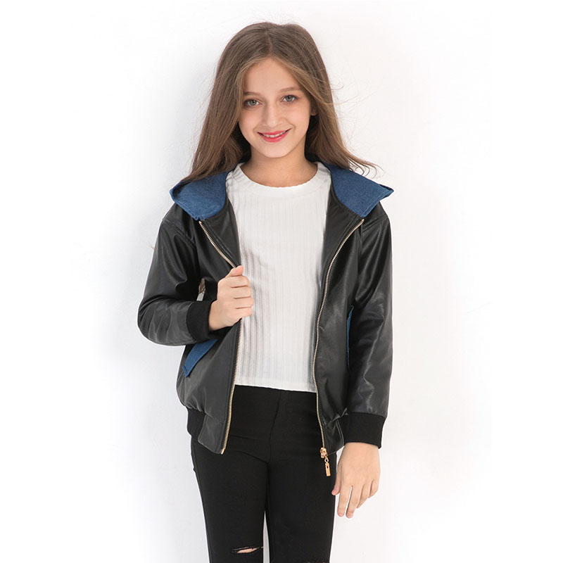 Teenage Jackets for Girls Winter Hoodies Jacket for Girls 2019 New PU Leather Children Spring Autumn Outwear Teenagers Kids Coat