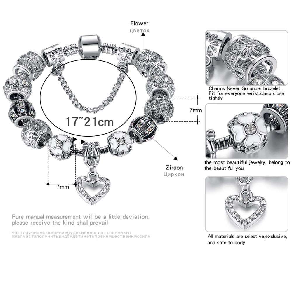 2018 Kualitas Tinggi Pesona Jantung Beads fit Asli Gelang Perak - Perhiasan fashion - Foto 2