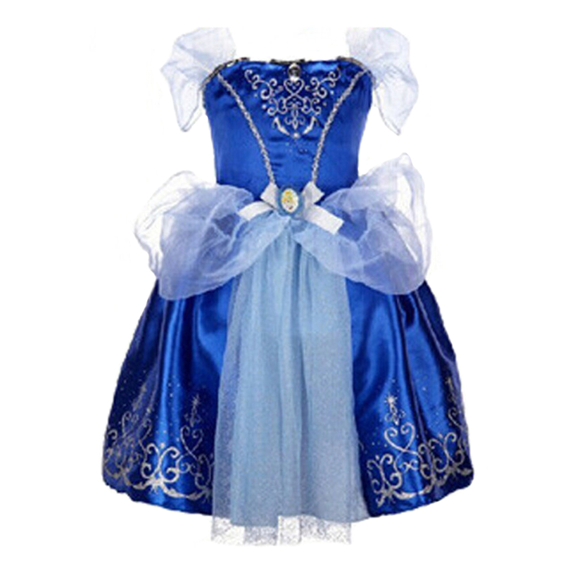 все цены на Summer Blue Cinderella Costume Dress Baby Girl Clothes Kids Party Cosplay Dress Children Clothing 2-7Years Girls Dress Vestidos