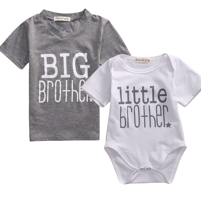 2017 New Little Brother Baby Boy Top 2 7Years Romper and Big Brother T shirt Summer