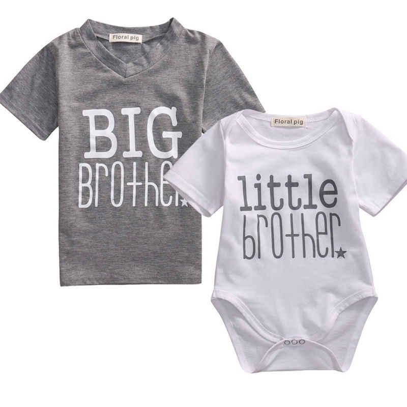 2017 Yeni Küçük Kardeş Erkek Bebek Üst 2-7Years Romper ve Big Brother T-shirt Yaz Kısa Kollu Elbise
