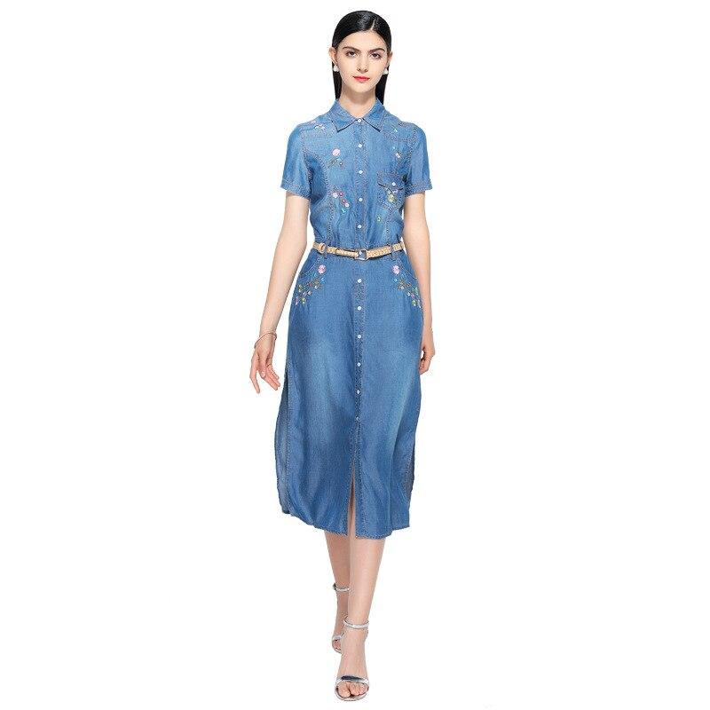 Kadın Giyim'ten Elbiseler'de Yeni yaz rahat Nakış elbise kadın zarif peter pan yaka kısa kollu denim elbiseler vestidos de verano kadın kıyafetleri 2019'da  Grup 1