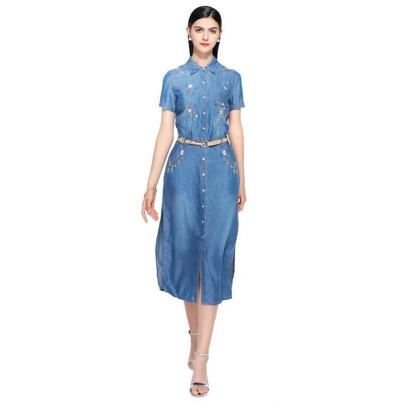 new summer casual Embroidery dress women elegant peter pan neck short sleeve denim dresses vestidos de verano women clothes 2019