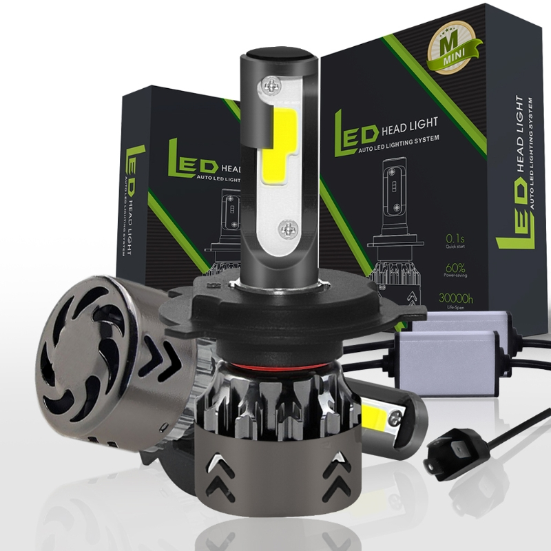 YAM Mini High Performance DC9-30V H4 9003 HB2 120W 20000LM LED Headlight Kit Hi/Lo Beam Bulbs 6000K -M18 anti interference 2x new h4 9003 hb2 180w 30000lm led headlight kit hi lo beam bulbs 6000k 2018
