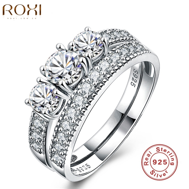 ROXI Luxury 925 Sterling Sliver Jewelry Rings For Women Wedding Engagement Ring Set Genuine Three Stone 925 Solid Sliver anillos