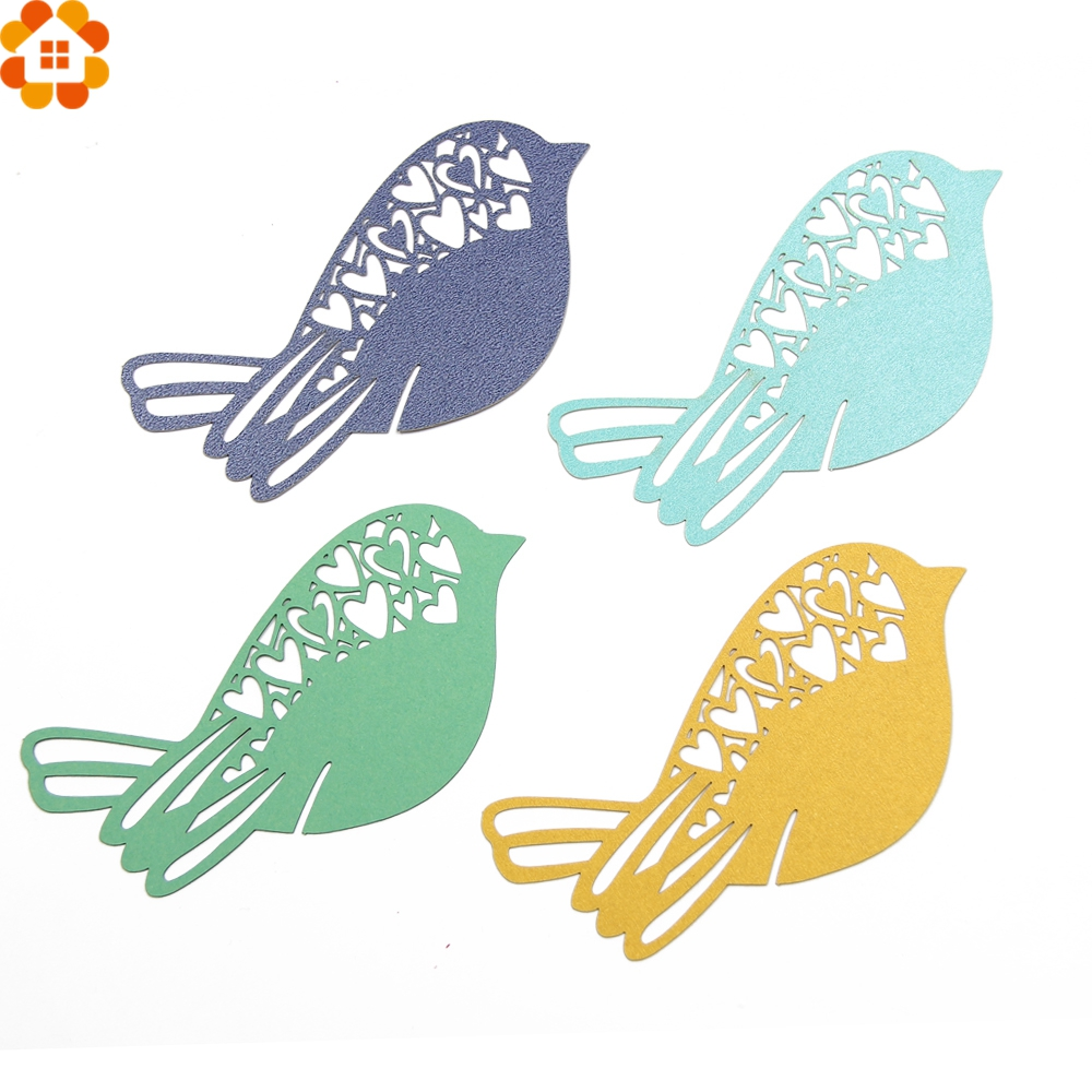 50PCS Bird Shape Name Card Wine Glass Card Laser Cut Paper Cup Card Table Mark Home Decor Festival/Wedding Party Decoration