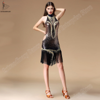 New Latin samba Dance Dress Women For Ballroom Sexy Fringe Sequins Costume Latin Skirt charleston Dresses gatsby flapper
