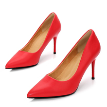 цена на Sexy 8CM High Heels Dress Pumps Shoes For Women Elegant Fashion Party Pointed Toe Wedding Thin Heeled Shoes Plus Size E0013