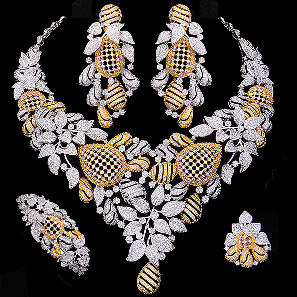 GODKI New Trendy Super Luxury Bee Nest Party Dress Jewelry Sets For Women Wedding Indian Bridal Cubic Zircon CZ Jewelry 2019GODKI New Trendy Super Luxury Bee Nest Party Dress Jewelry Sets For Women Wedding Indian Bridal Cubic Zircon CZ Jewelry 2019