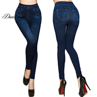 Fashion Slim Women Leggings Faux Denim Jeans Leggings Sexy Long Pocket Printing Summer Leggings Casual Pencil