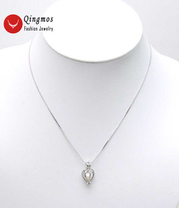 Image 4 - Qingmos 5 pudełek życzenie perła miłość serce uchwyt na bidon Chokers naszyjnik dla kobiet z zawieszkami naszyjnik z pereł Oyster Gift Box 3621