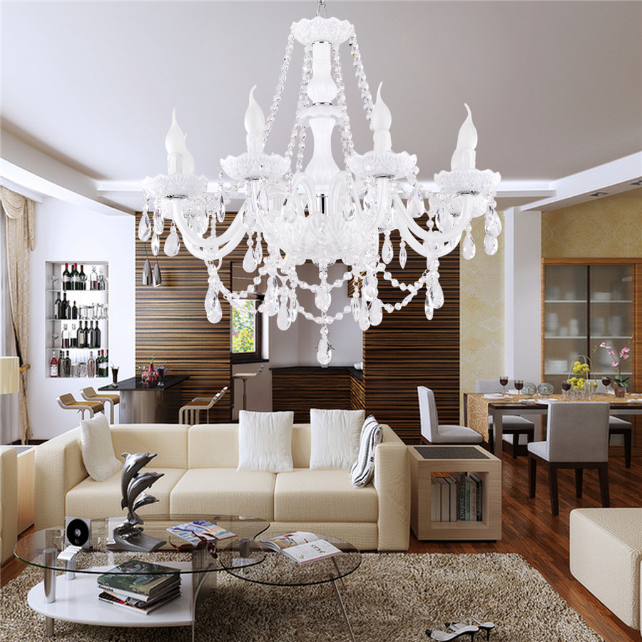 Luxury modern chandelier white crystal modern living 8 lightsdining luxury modern chandelier white crystal modern living 8 lightsdining room bedroom living room chandeliers free shipping in pendant lights from lights arubaitofo Image collections