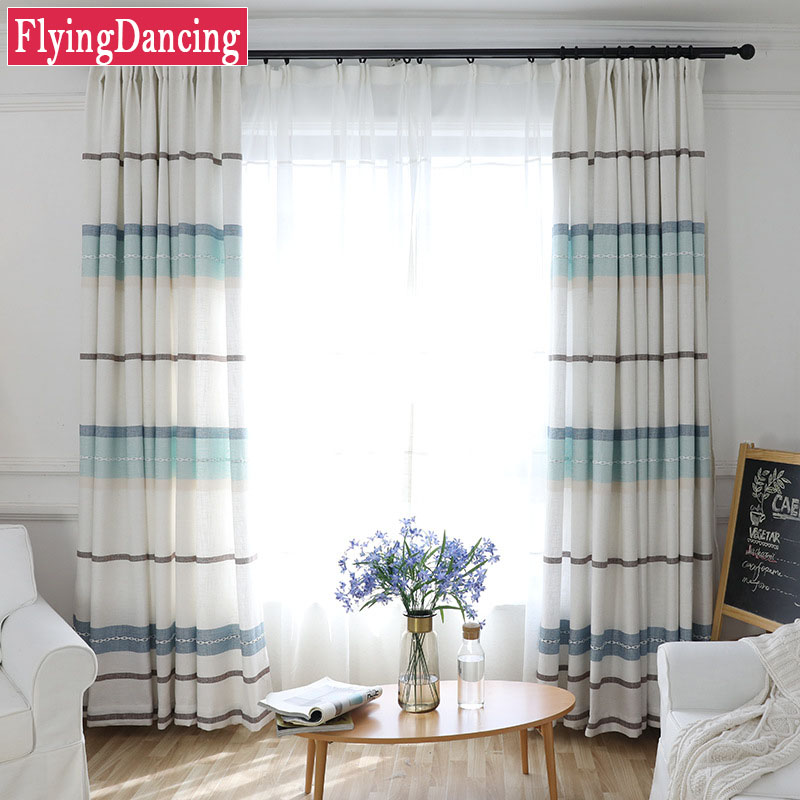 Linen Curtains For Living Room Japan Style Horizontal Stripes Curtains For  Bedroom Thick Curtain For Kitchen Window Drapes FD102