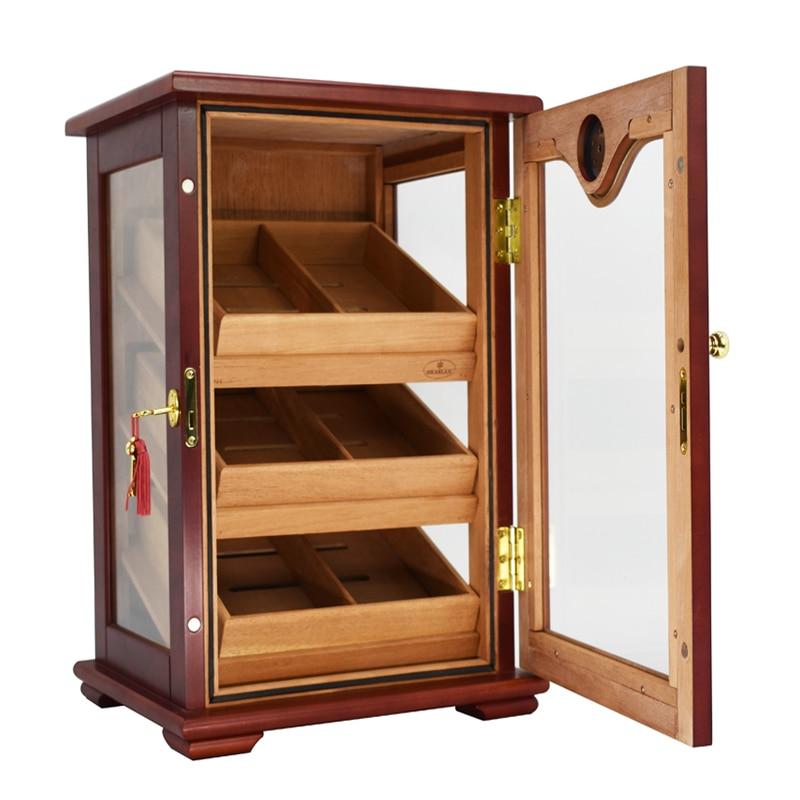 High-end Havana Cigar Humidor 3 Cedar Wood Lined Trays Display Desktop Cabinet Tempered Glass Cigar Case W Hygrometer Boite Ciga