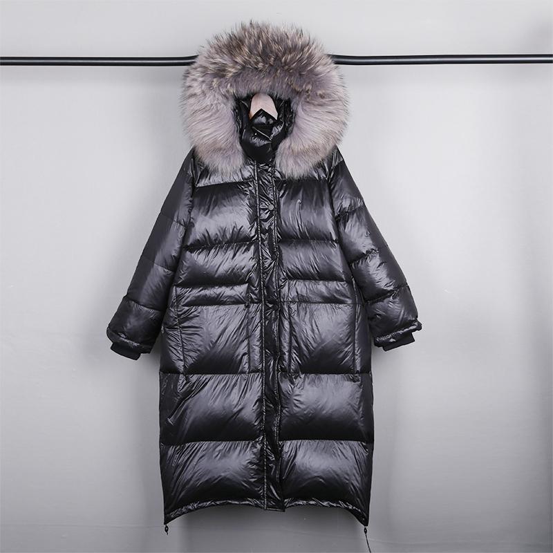 Real Natural Fur 2019 New Winter Jacket Women Loose Duck   Down   Jacket Female Long   Down   Parka Thick Hooded   Coat   Plus Size Overcoat
