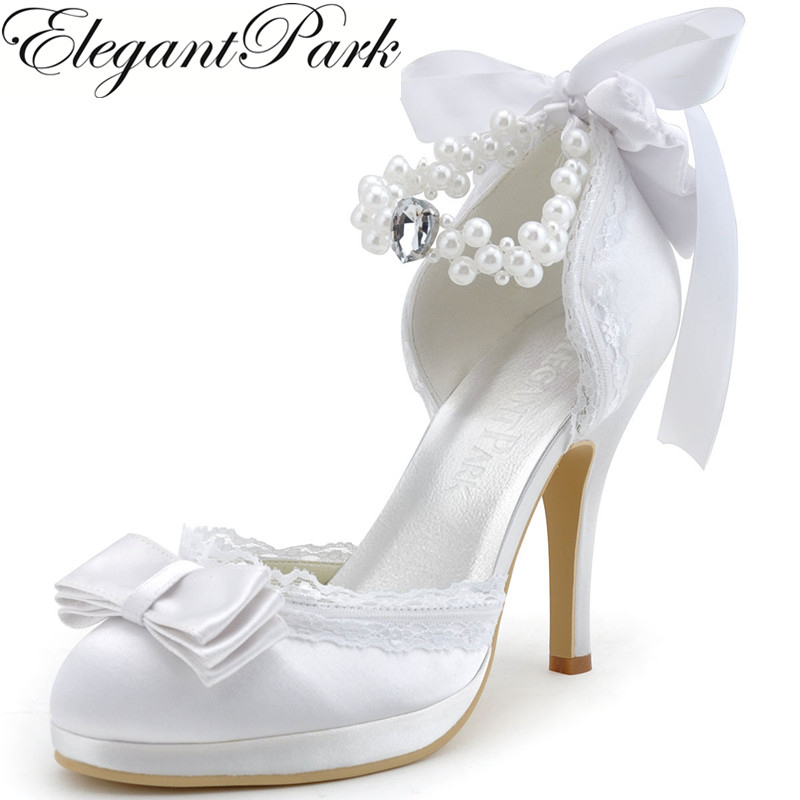 Woman Wedding Shoes Ivory White Closed Toe High Heel Bow Pearls ankle Strap  Satin and Lace 7558aca4091e