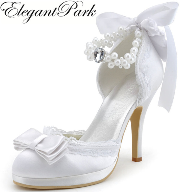 Woman Wedding Shoes Ivory White Closed Toe High Heel ankle Strap Bow Pearls  Satin and Lace Prom Dress Bridal Pumps A3202C-PF 39c067bb0680