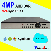 AHD dvr 16ch 4MP hybrid 5 in 1 CCTV p2p onvif network security standalone digital video recorder support smart phone view