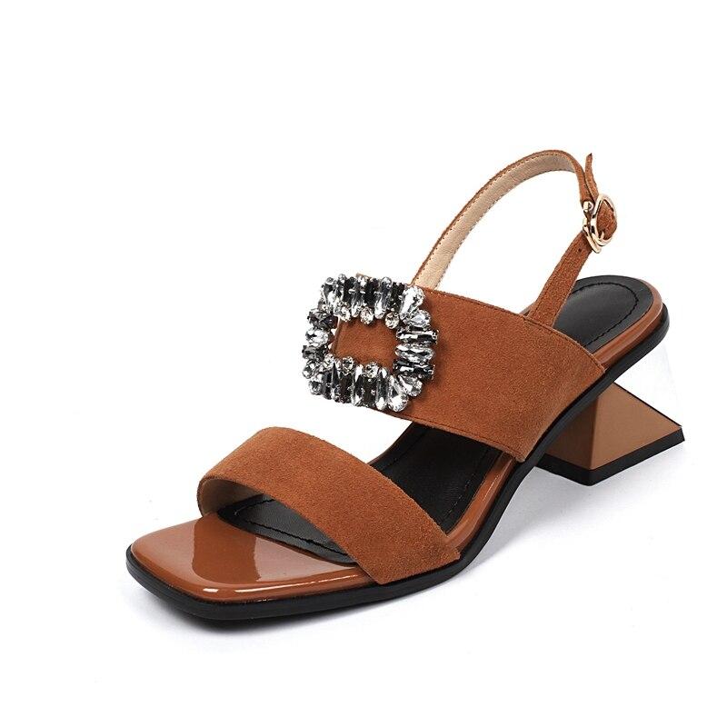 Cuadrado Sólido brown 2018 Moda red Sandalias Lady Verano Medio Del Las Zapatos Black Bolso Cr578 Dedo Mujeres Enmayer De Pie Tacón FnPO8xHfB