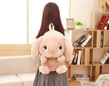 Японский И Корейский Мягкой Сестра Стиль Свисающий Ушастый Кролик Рюкзак Моды Дизайн Милый Большой Плюшевый Кролик Молнии Женщины Сумка