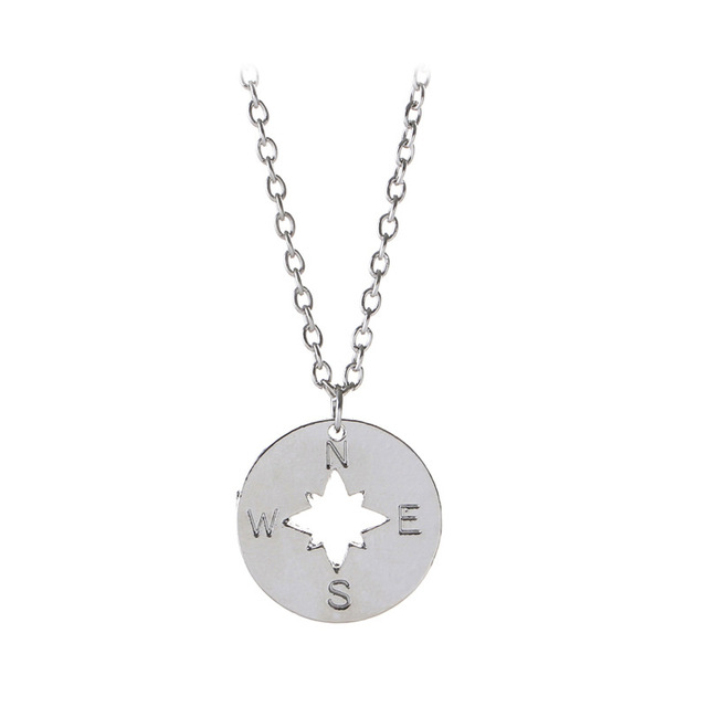 New simple silvergold plated hollow compass pendant necklace east new simple silvergold plated hollow compass pendant necklace east north west south charm necklace aloadofball Choice Image