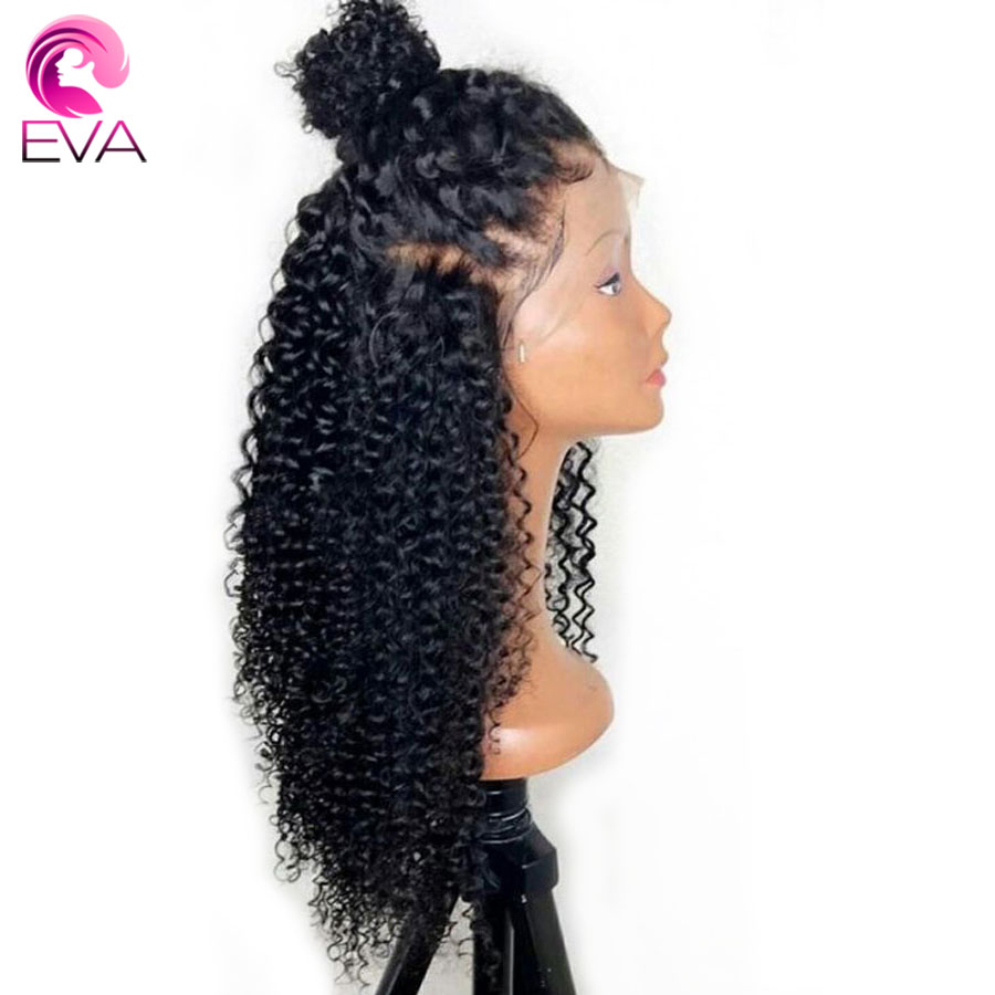 EVA Curly Silk Top Lace Front Human Hair Wigs With Baby Hair Brazilian Remy Hair Silk