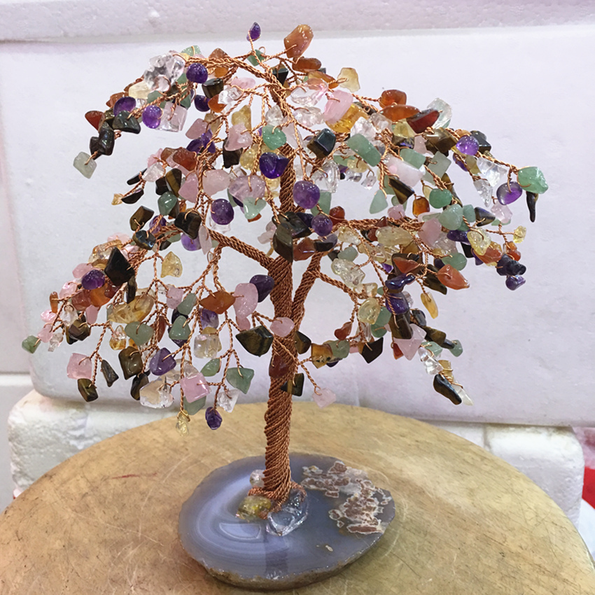 Big tamanho natural Cristal Rainbow color gemMoney Árvore Feng Shui Riqueza Home & office Decoração Estatuetas Em Miniatura Do Presente Do Partido