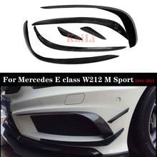 W212 Front Bumper Lip Splitter Carbon Fiber Canard Spoiler For Mercedes E Class W212 LCL 2014 2015 Sport Edition E200 цена и фото