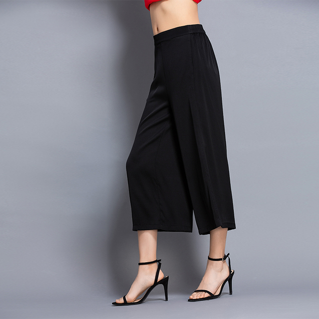 100% Silk High Waist Solid Color Wide Leg Pants Women Summer Causal Plus Size Hollow Out Ankle Length Pants 2019