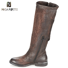Prova Perfetto England Retro Genuine Leather Buckle Women knight Boot Neutral Solid Chunky Heels Square Toe Knee High Long Boots