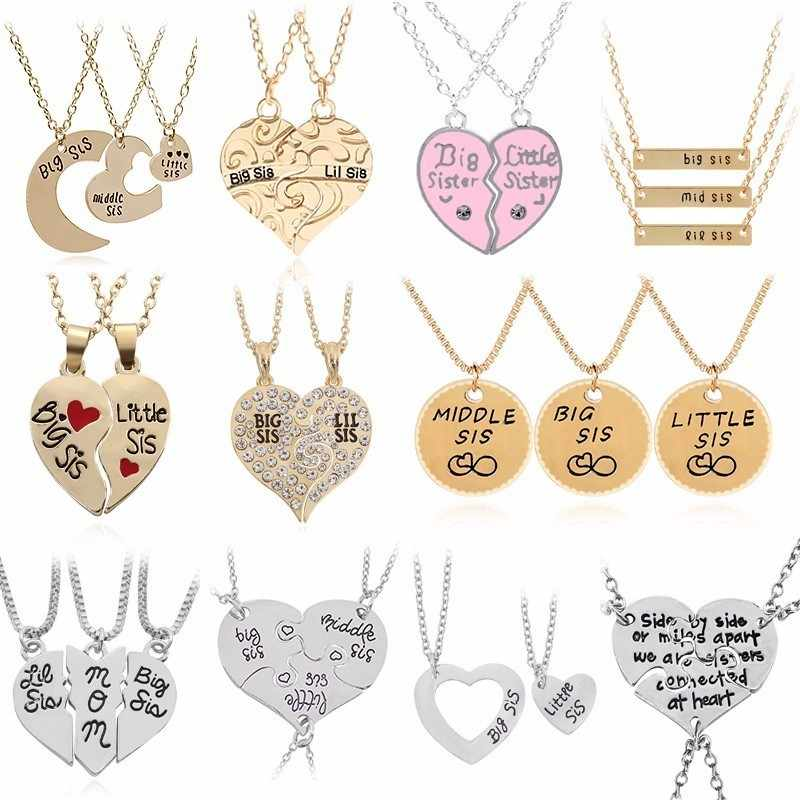 2PC/Set Big Sis Lil Sis Pendant BFF Best Sister Necklaces&Pendants Heart Stitching Sisters Xmas Broken Heart Necklace For Women