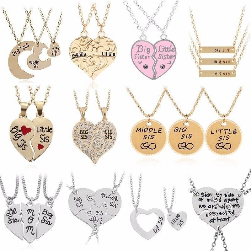 Anhänger-halsketten Halsketten & Anhänger Neue Mode 2 Teil/satz Big Sis Lil Sis Anhänger Bff Beste Schwester Halsketten & Anhänger Herz Stitching Schwestern Weihnachten Gebrochen Herz Halskette Für Frauen