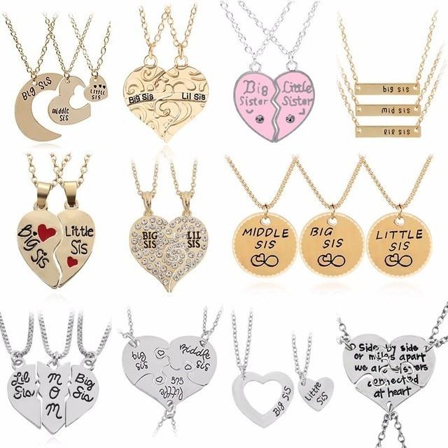 2PC/Set Big Sis Lil Sis Pendant BFF Best Sister Necklaces&Pendants Heart Stitchi