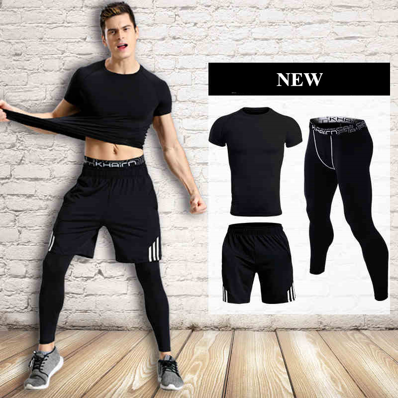3 Piece Men Sports Suits Jogging Costume Homme Short Sleeve Tights Gym TShirt Fast Dry Training Survetement Run Clothes For Man 3 piece set men s sports running stretch tights leggings t shirts shorts training pants jogging fitness gym compression suits