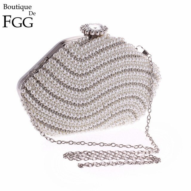 Crystal and Synthetic Pearl Patchwork Large Stone Women Beading Evening Bags Brides Wedding Dress Beaded Hard Metal Clutch Purse