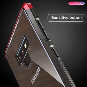 Image 4 - オリジナル LUPHIE サムスンギャラクシー注 9 金属バンパークリア強化ガラスカバー Note9 透明ケース Coque バッグ