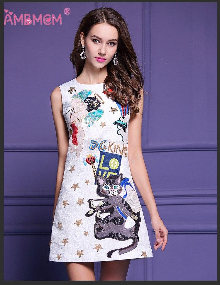 AMBMCM mode femmes robe tempérament défilé de mode industrie lourde paillettes rétro lettres perles kitties robes de fête d'été - 2