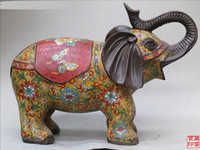 Huij 008622 China tibetana Chino Clásico Cloisonne bronce Elephish Bosque Elefante Rey zoon