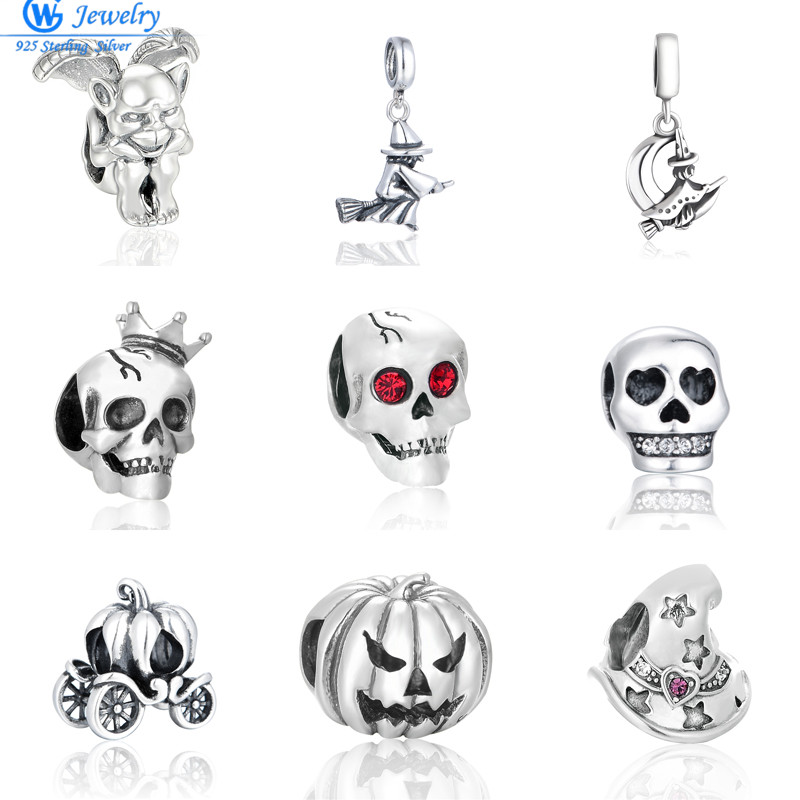Lady Silver Ghost Face Skull Head Beads Charm Fit 925 Sterling Original Bracelet